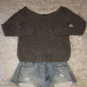 Charcoal Knit Sweater Cold Shoulder Sz Large